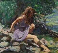 Childhood Brook, oil ,American Impressionistic, Colorado, New Orientalist