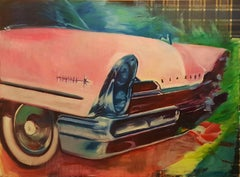 Plaid Wallpaper, Pink Car Retro, Original Oil Painting
