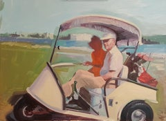 """Golf Cart with Fringe"" Original Oil Painting, Retro Golfers"