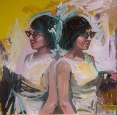 """Polka Dot Dress"" Original Oil Painting, Modern Figurative"