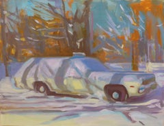 """Covered With Snow"" Original Oil Painting of Station Wagon in Winter"