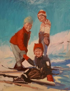 """Happy Ski Kids"" Original Oil Sports Theme Painting by Mary Sinner"