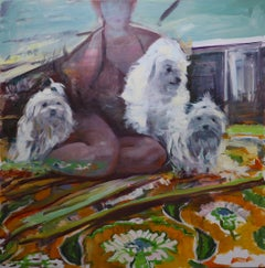 """Shih Tzu Trio"" Original Oil painting by Mary Sinner with 3 dogs and woman"