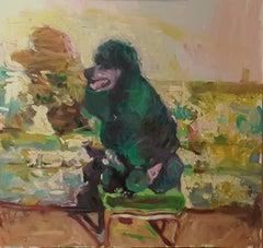 """Poodle on Velvet Stool"" Original Oil Painting by Mary Sinner. Dog love."