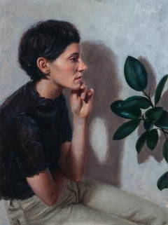 """""""Connection, in profile"""" by Lis Pardoe, figurative oil painting, emerging artist"""