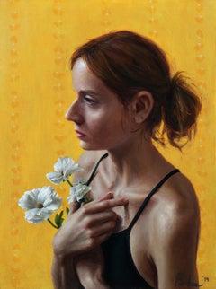 """Childhood, in profile"" Lis Pardoe, figurative yellow backdrop, emerging artist"