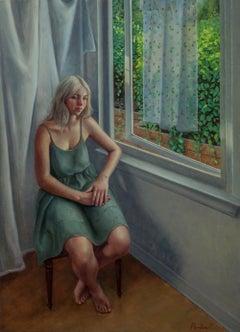 """Open"" Lis Pardoe, figurative, original oil on aluminum panel, woman at window"