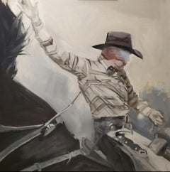 """Rodeo Man"", Oil Original Contemporary Cowboy Western Horse & Rider, Gray"