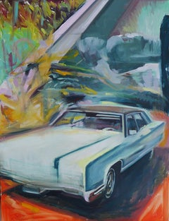 """""""Lady Lincoln"""", Original Oil Painting with vintage pink Lincoln Premiere Car"""