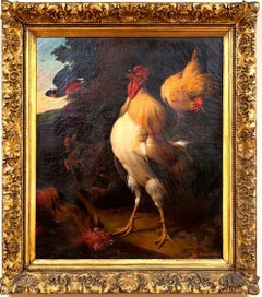 """A Triumphant Cockerel Crowing Over His Victory; A Chicken and a Pea-Hen..."""