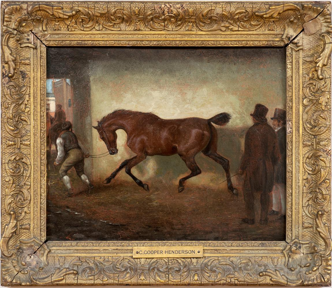 """Horse Portrait """"Bay Horse Being Led Out of a Barn"""" Attr. to Charles C. Henderson"""