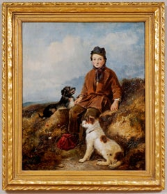 """""""A Rest on the Way/Boy With 2 Dogs"""" William Walker Morris (Brit., Fl. 1850-1867)"""
