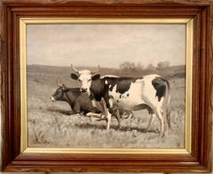 """Cows"" Oil on Board Grisaille painting by Thomas Craig (American, 1849-1924)"