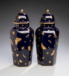 Pair of English Porcelain Vases with Insects from John Mortlock circa 1875