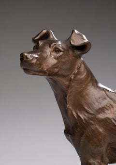 Bronze Dog Portrait of a Terrier by Pierre-Albert Laplanche (French, 1826-1873)