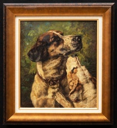 """Portrait of Two Dogs,"" 1873 by Clara von Wille (German, 1838-1883)"