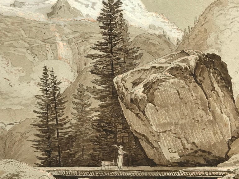 Sepia watercolor with touches of gouache (the snow in the peaks of mountains).  No apparent signature.  Condition: good. Beautifully fully rendered  mountain landscape with solitary figure with a goat traveling across a slender bridge with a house