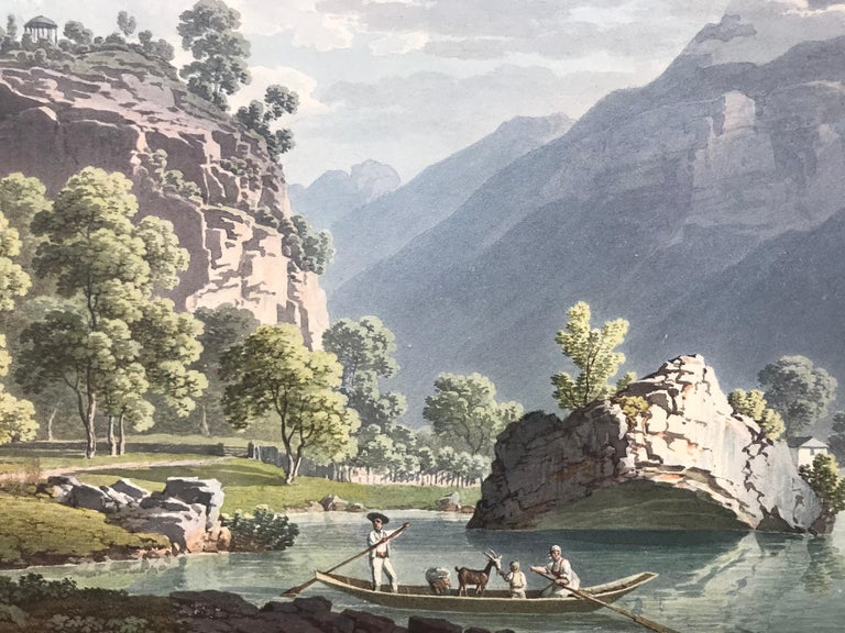 Watercolor on paper of a Swiss landscape by the Swiss painter, Jacques Henri Juillerat. Signed middle bottom and dated 1820. The watercolor shows a family in a small boat along with a goat.  Condition is very good and presently not framed.  Born