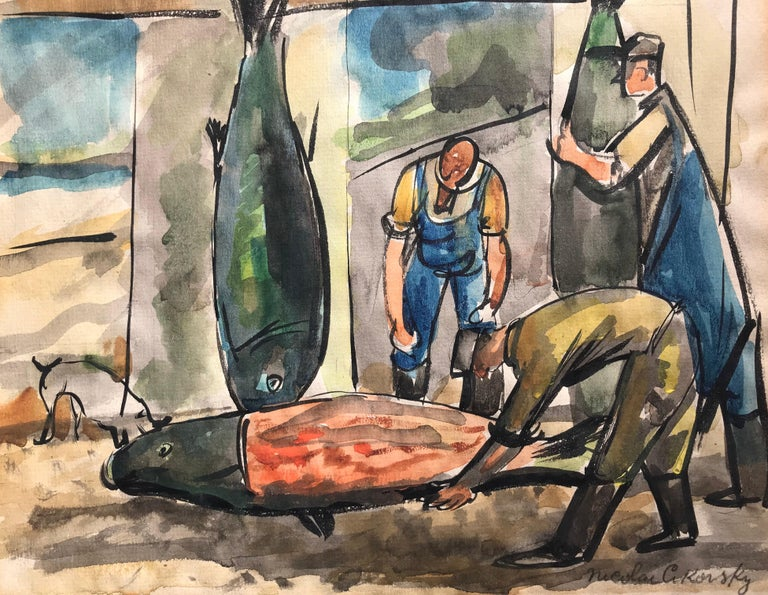 """Fish Mongers"" - Art by Nicolai Cikovsky"
