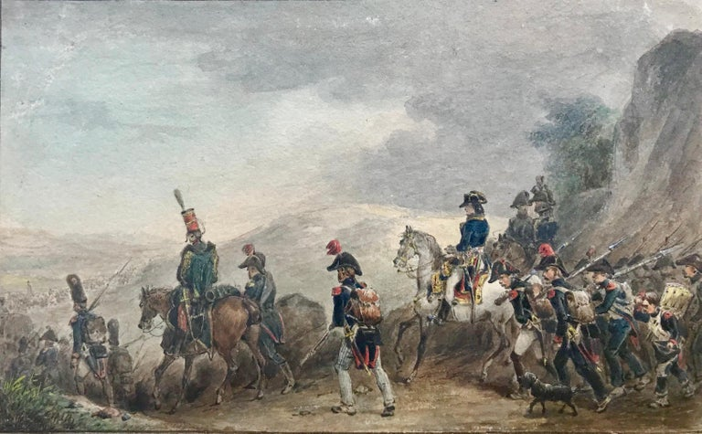 Watercolor on paper of Napoleon Bonaparte and his soldiers attributed to the French artist, Jean-Louis-Ernest Meissonier.  Napoleon is shown on the white horse.  Circa 1860. Unsigned.  Condition:  Very Good.  Provenance: Christie's, London, 1993.
