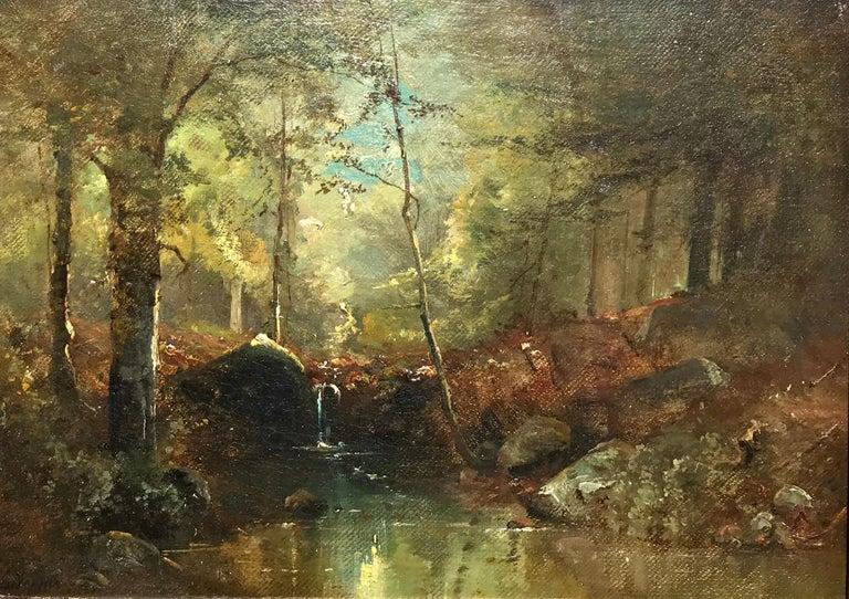 """Émile Louis Vernier Landscape Painting - """"Woodland Stream"""""""