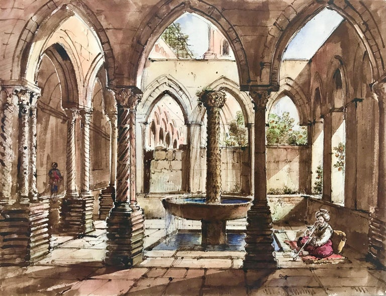 Ink, and watercolor on paper by the famous French artist, Auguste de Forbin of the Cloisters of Monreale, in northern Sicily.  Initialed lower right. Titled and signed verso. In very good condition; vibrant colors.   Matted, unframed.   The Cloister