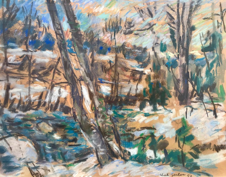 Karl Gerber was born in 1912 and died in 1974.  He specialized in scenes of the Swiss countryside, both in mixed media and oils.  Mixed media of watercolor, gouache and oil pastel on brown paper by the Swiss artist, Karl Gerber.  Signed lower right