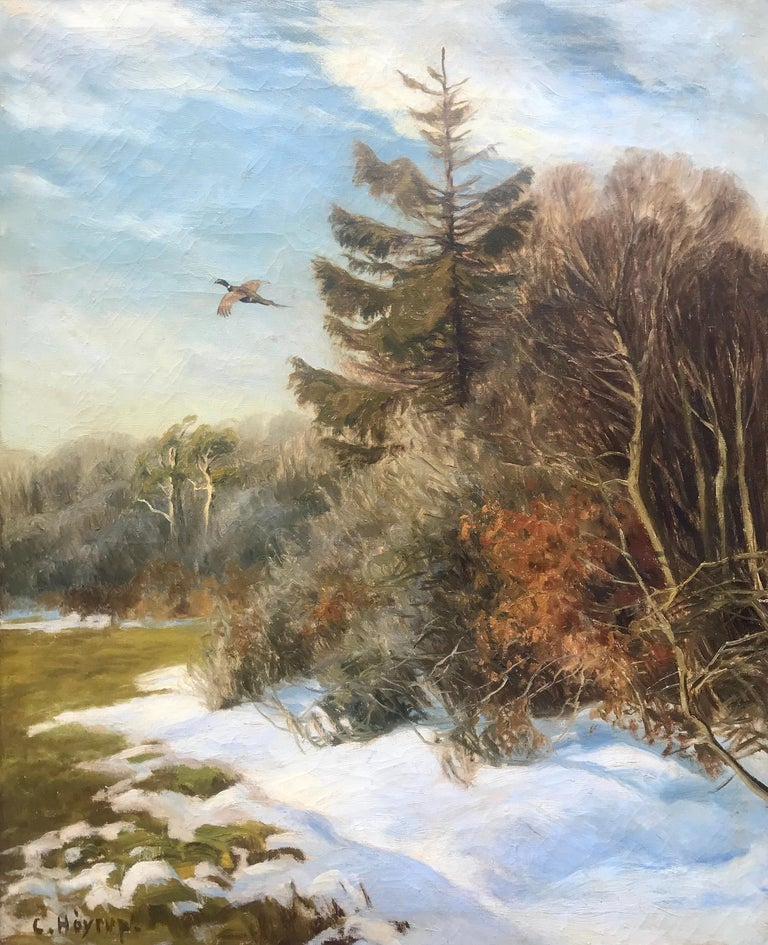 "Carl Hoyrup Landscape Painting - ""Pheasant in Flight"""