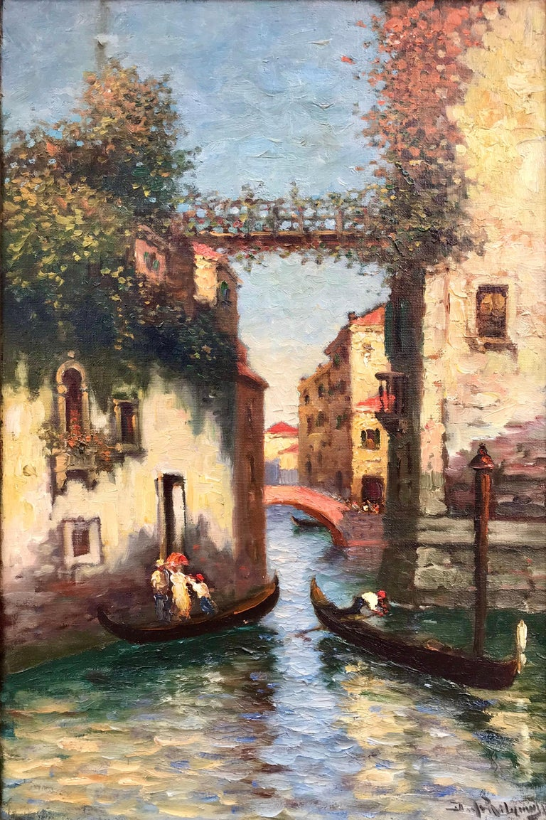 "Richard Dey DeRibcowsky Landscape Painting - ""Venice Gondolas"""