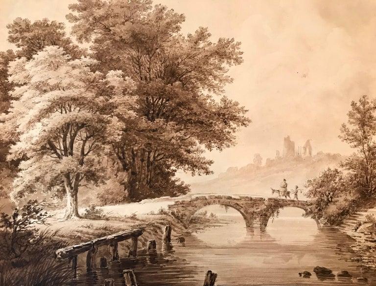 """Unknown Figurative Art - """"Crossing the Bridge"""""""