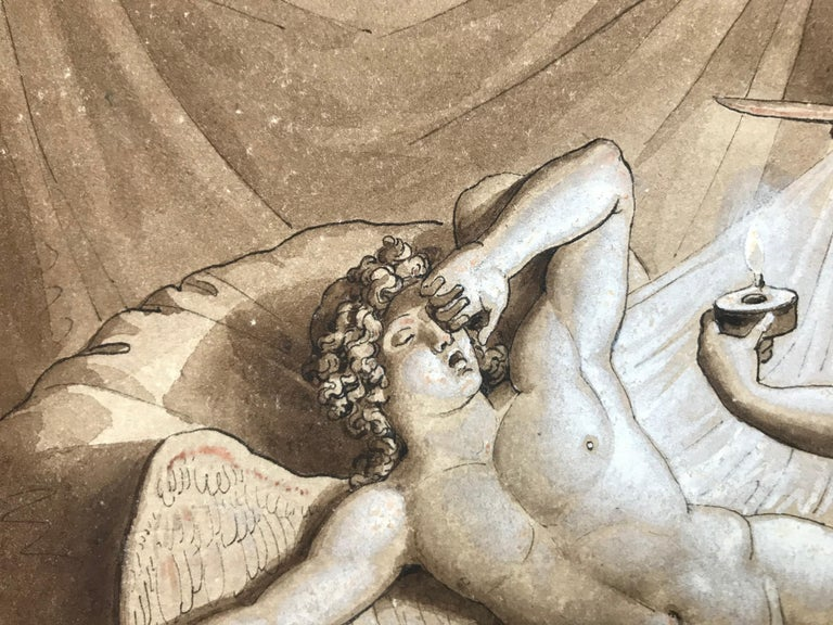 Original black ink, sepia drawing with white gouache highlights by the Italian artist, Giuseppe Cammarano.  This drawing depicts the story of Cupid and Psyche.  Signed and dated lower right, 1815.  Presently unframed.  The Story Psyche is so