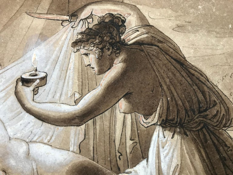 """Cupid and Psyche"" - Gray Figurative Art by Giuseppe Cammarano"