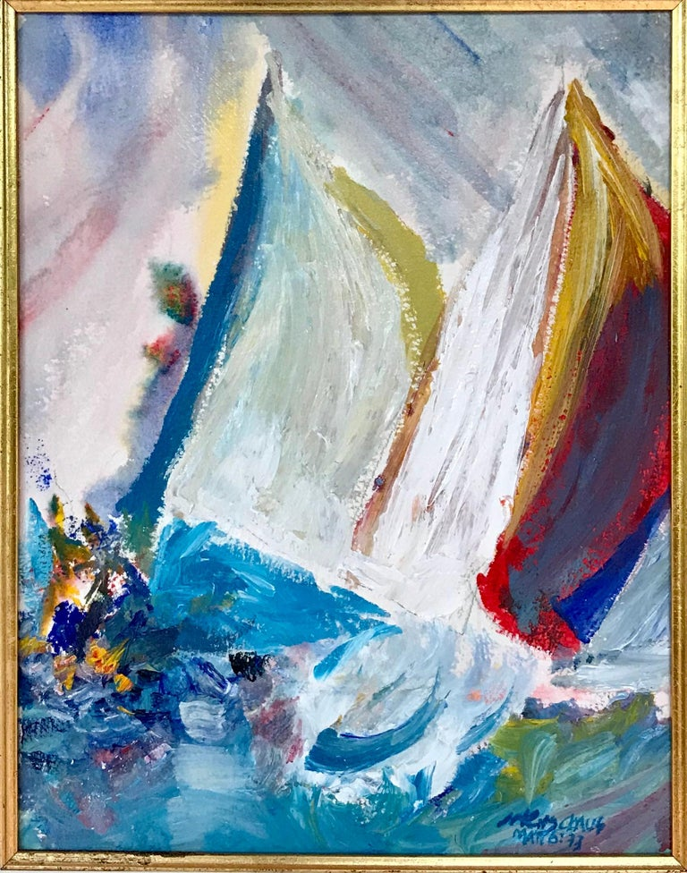 """""""Abstract Sailing"""" - Mixed Media Art by Irving Marcus"""