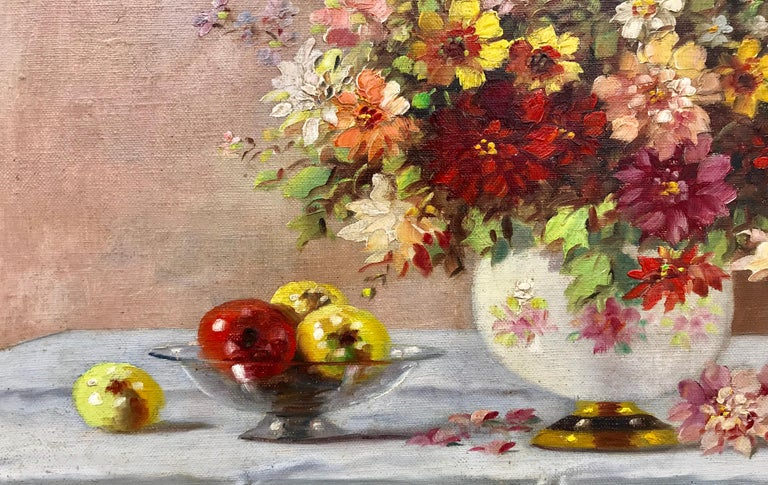 """Bouquet in Porcelain Vase"" - Beige Still-Life Painting by Marko Vukovic"