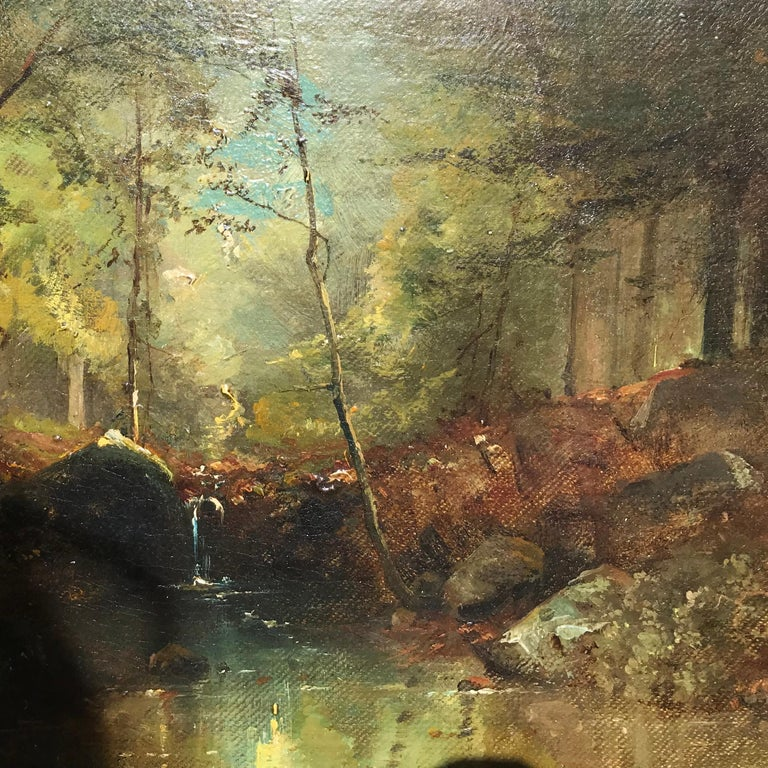 """Woodland Stream"" - Barbizon School Painting by Émile Louis Vernier"