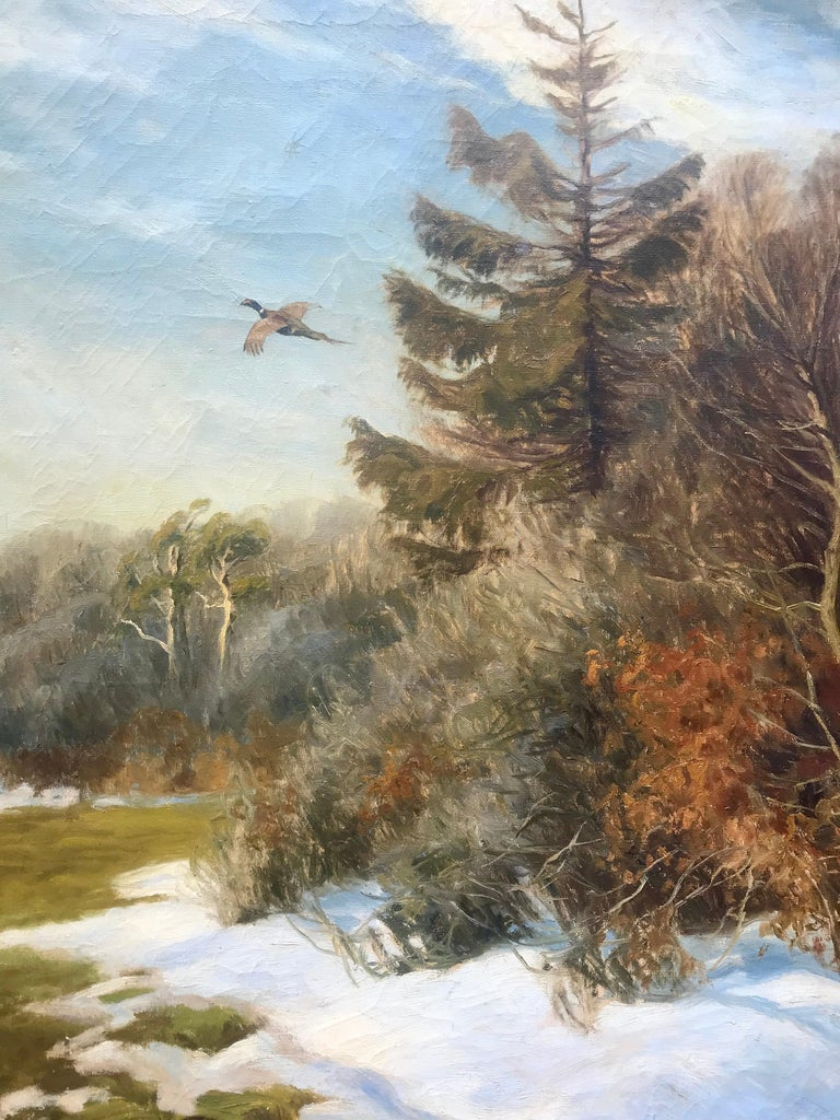 """Pheasant in Flight"" - Gray Landscape Painting by Carl Hoyrup"