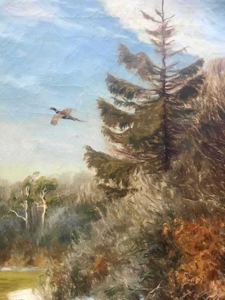 Large impressive painting of a pheasant in flight by the listed Danish artist, Carl Hoyrup.  Signed lower left.  Condition is good. Circa 1935.  Overall in walnut stained original wood frame 41.5 by 35 inches.