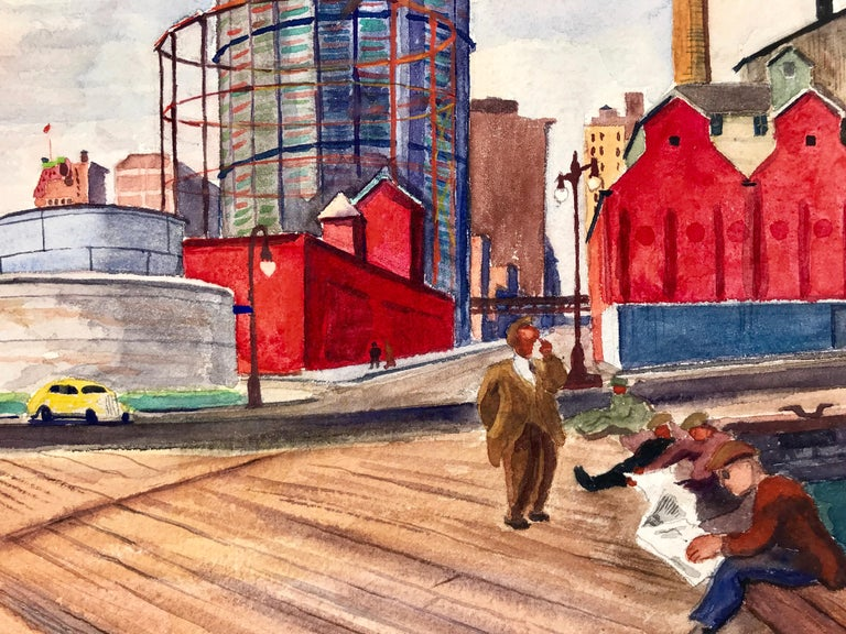 Fabulous watercolor of American Legion week in New York.  Dock workers reading the newspaper with the Empire State Building in the distance and planes flying in formation overhead. Signed lower left. Titled and dated, 1937 lower right. The actual
