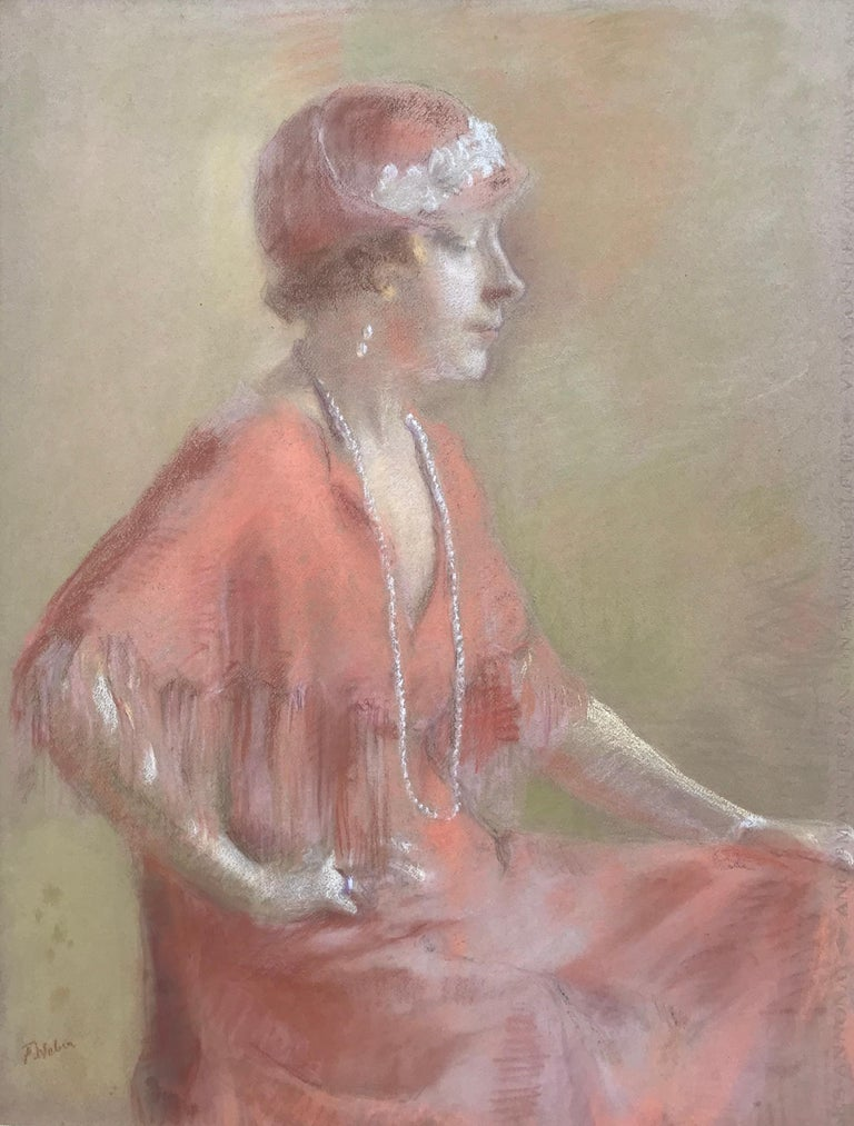Oil pastel on archival paper by the American artist, Frederick Theodore Weber.  Circa 1925. In very good original condition. Overall framed in contemporary antique gold leaf frame 30 by 36 inches  Frederick Theodore Weber (1883–1956) was an American