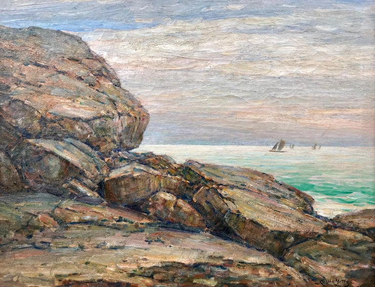 """Original oil on canvas painting by the well known American painter, Cullen Yates. Signed lower right and dated 1909. A similar painted by Yates done in the same year titled """"Rockbound"""" of Cape Ann is held by the Smithsonian Museum. Overall in"""