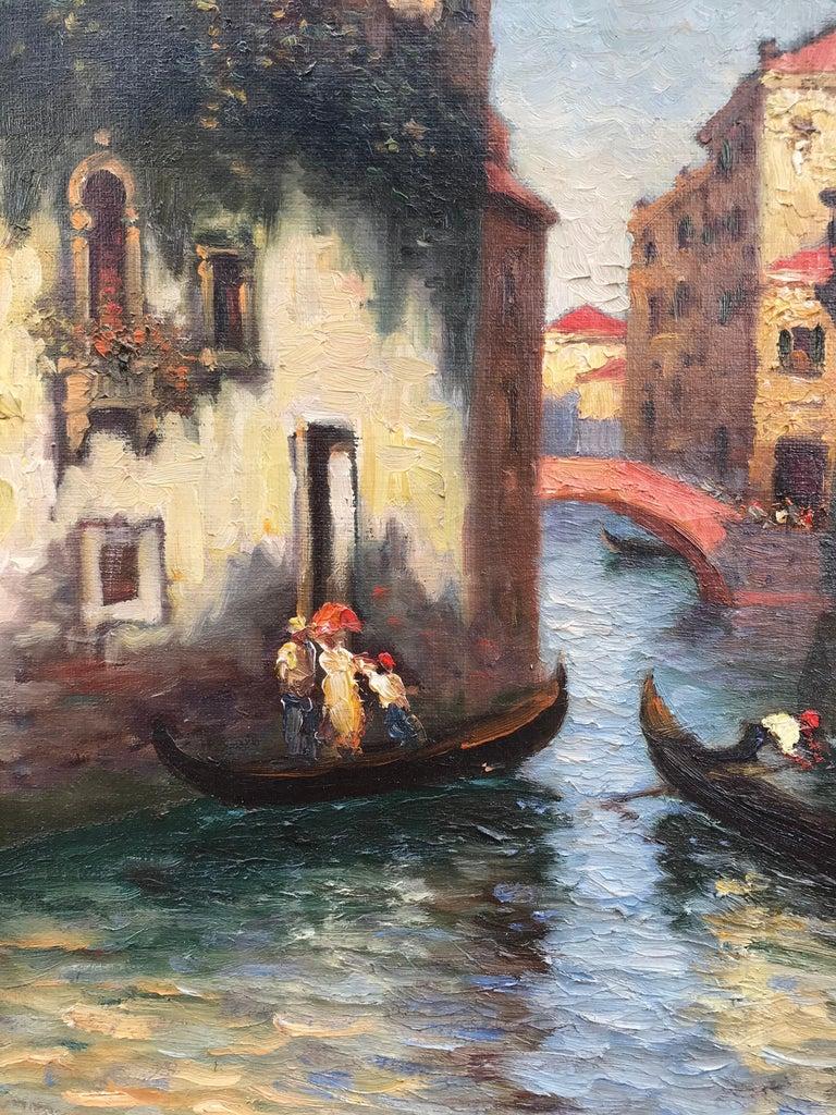 """Venice Gondolas"" - Painting by Richard Dey DeRibcowsky"