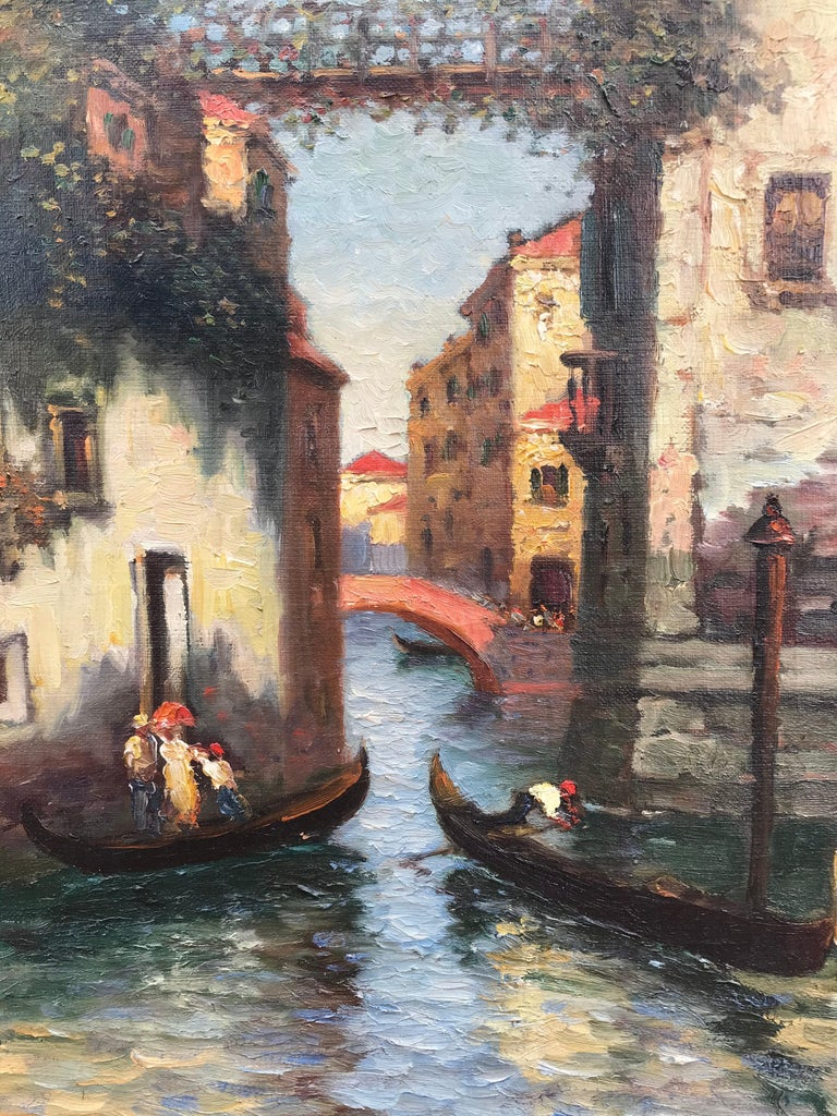 Original oil on canvas painting by Richard Dey DeRibcowsky of the gondolas of Venice, Italy. Vibrant, strong colors make this artist's work highly collected. Signed by the artist lower right. Overall in original Arts and Craft gold leaf frame 31.5