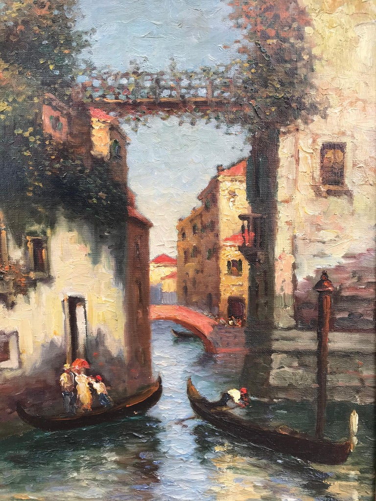 """Venice Gondolas"" - Brown Landscape Painting by Richard Dey DeRibcowsky"