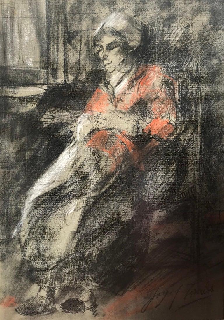 "Josef Israels Figurative Art - ""Woman Mending"""