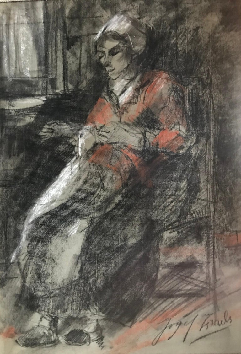 """""""Woman Mending"""" - Art by Josef Israels"""