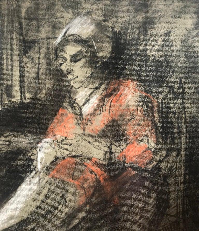 """""""Woman Mending"""" - Academic Art by Josef Israels"""