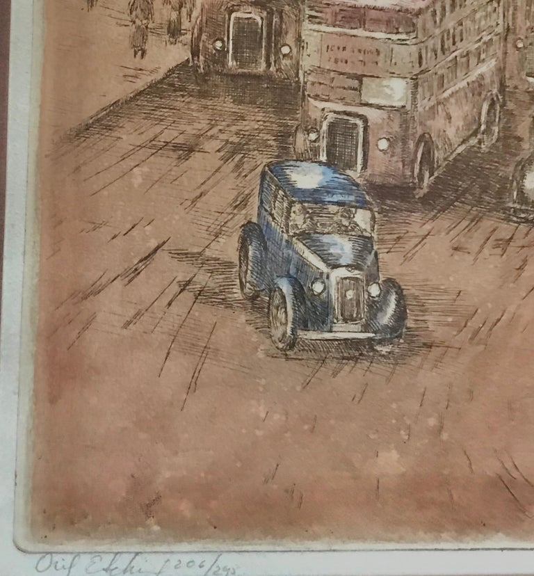 Very nice original hand colored copper plate etching (aquatint) by the Hungarian born artist, Marianne L. Almasy.  Depicts London with its double buses in the foreground and scenes of Paris in the background.  Handwritten bottom left in pencil,