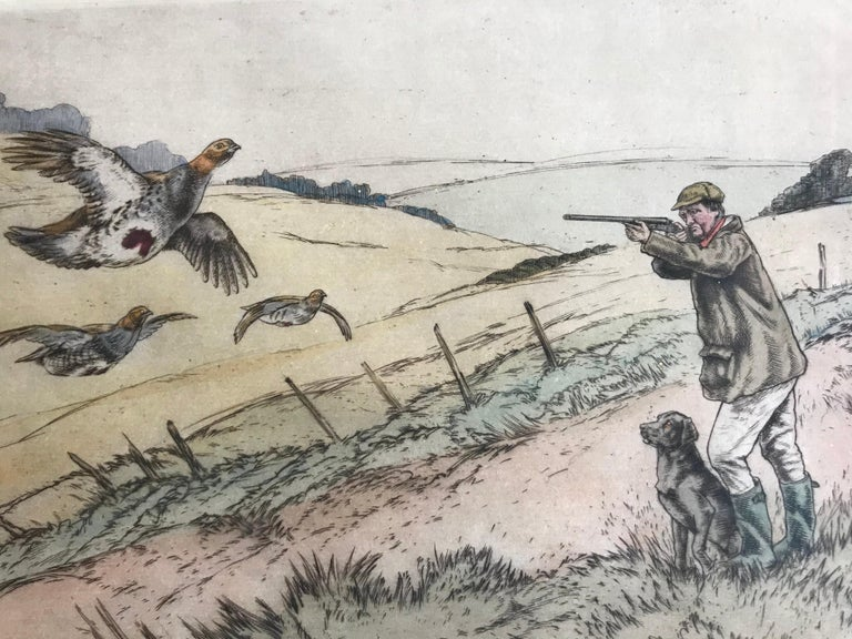 """Partridge Shooting"" - Beige Figurative Print by Henry Wilkinson"