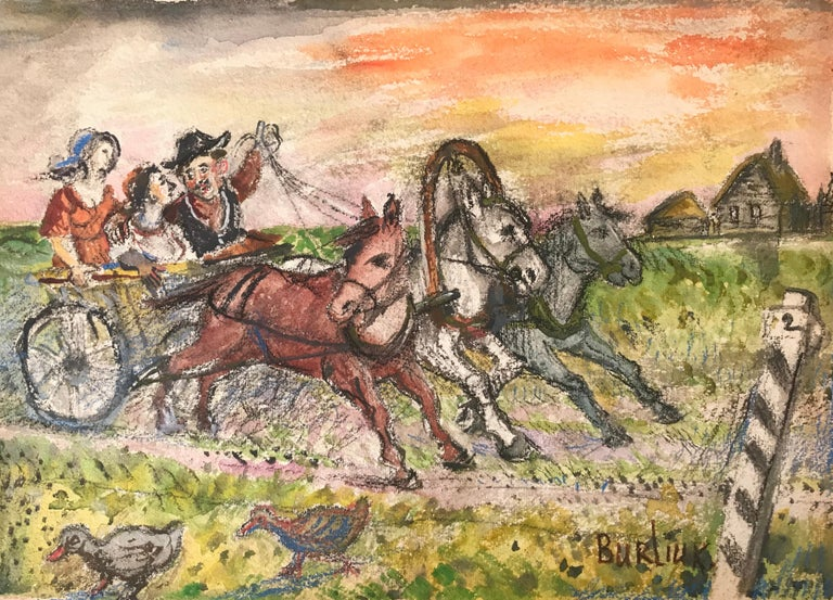 """Wild Carriage Ride"" - Mixed Media Art by David Burliuk"