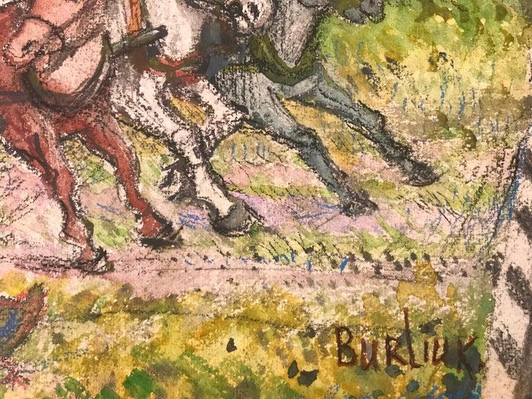 """Wild Carriage Ride"" - Post-Modern Mixed Media Art by David Burliuk"